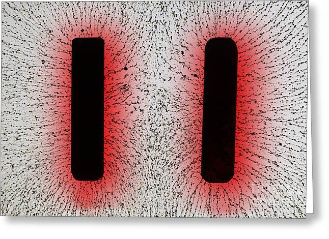 Electrostatic Field Lines Like Charges Greeting Card by Ted Kinsman