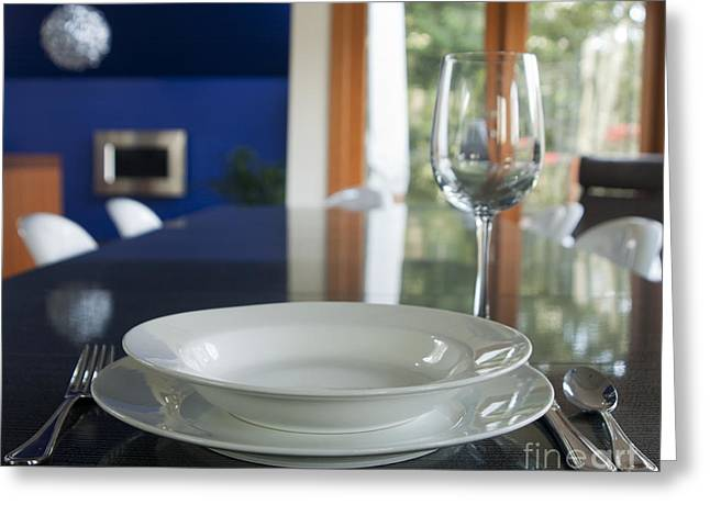 Elegant Place Setting In A Dining Room Greeting Card by Marlene Ford