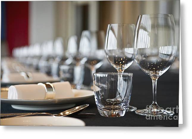 Elegant Place Settings On A Long Table Greeting Card