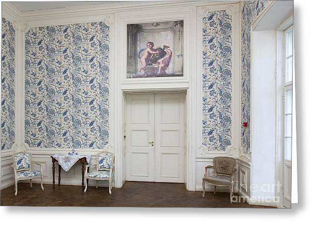 Elegant Room With Floral Wallpaper Greeting Card