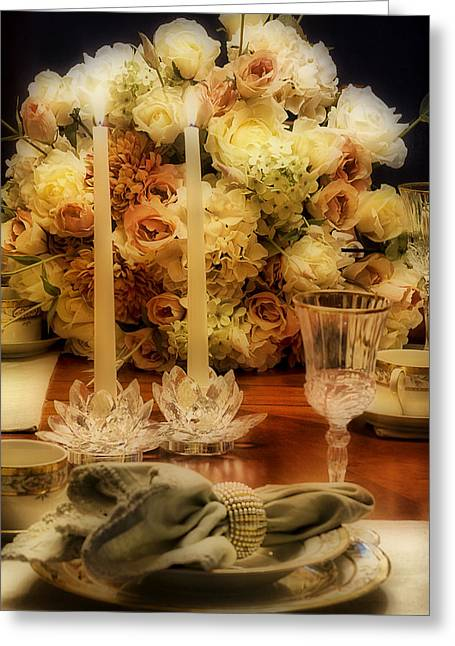 Elegant Tablesetting Greeting Card by Trudy Wilkerson