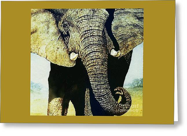 Greeting Card featuring the painting Elephant Close-up by Hartmut Jager
