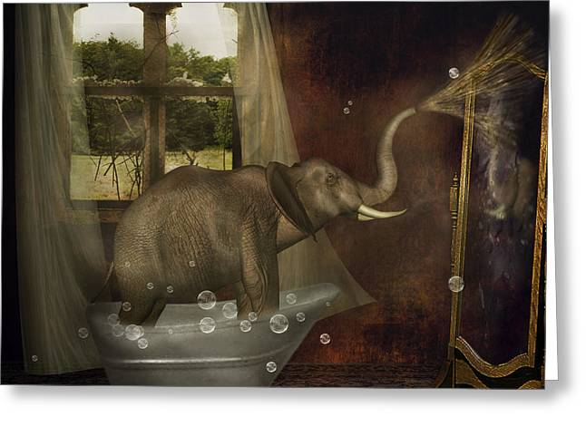 Greeting Card featuring the photograph Elephant In Bath by Ethiriel  Photography