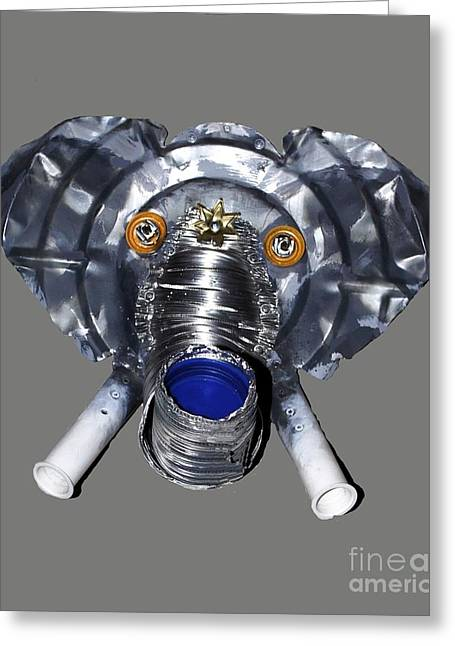 Elephant Mask Greeting Card by Bill Thomson