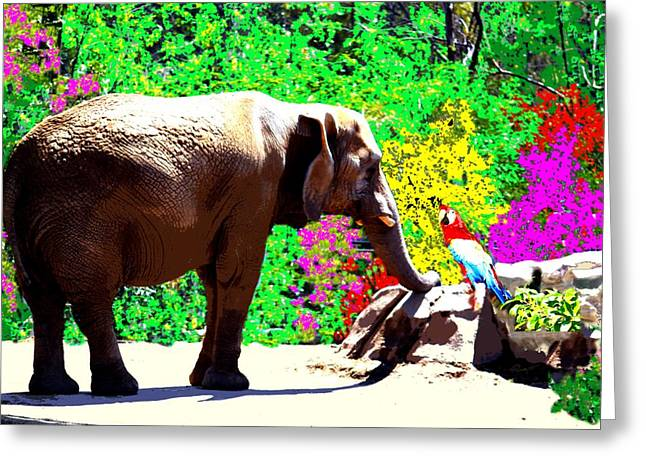 Elephant-parrot Dialogue Greeting Card by Romy Galicia