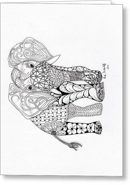 Elephant Greeting Card by Paula Dickerhoff