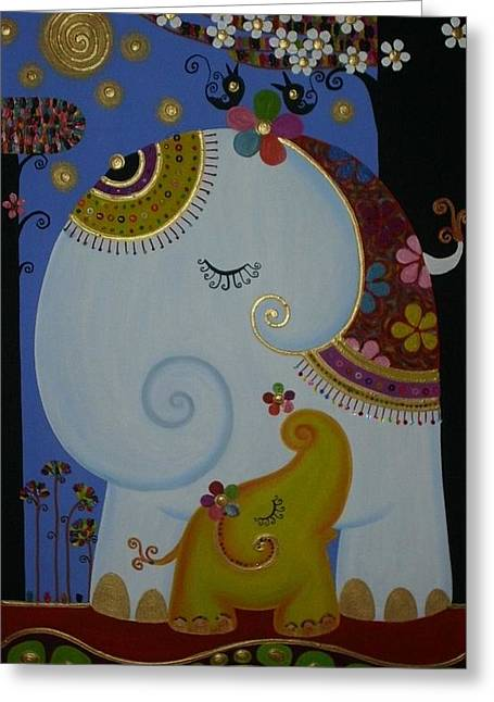 Elephant Greeting Card by Suwannee Wannasopha