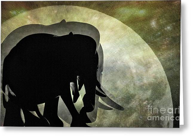 Elephants On Moonlight Walk 2 Greeting Card by Kaye Menner