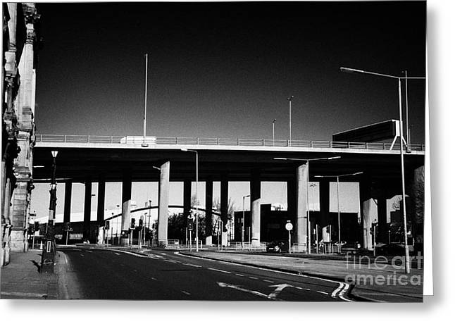 elevated M8 motorway in Glasgow city centre Scotland UK Greeting Card