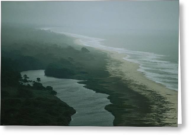 Elevated View Of Fog-shrouded Atlantic Greeting Card by Michael Nichols