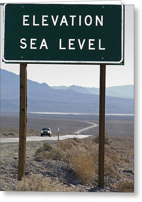 Elevation Sea Level Sign And Highway Greeting Card by Rich Reid