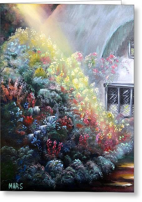 Elglish Garden Cottage Greeting Card by Peggy Mars