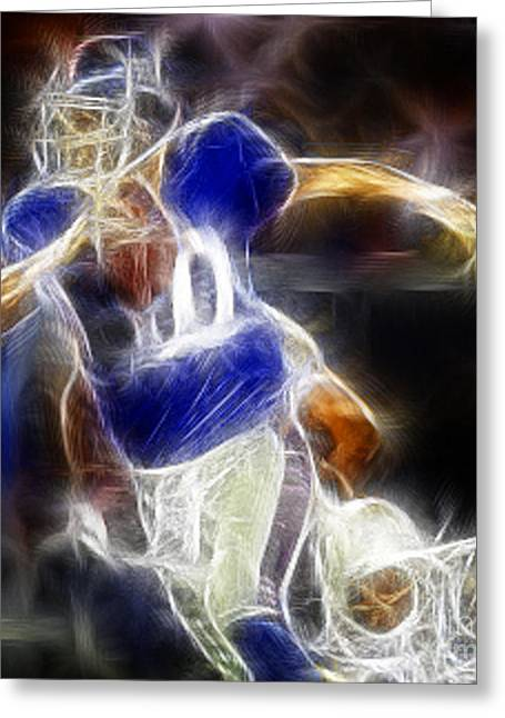 Eli Manning Quarterback Greeting Card by Paul Ward