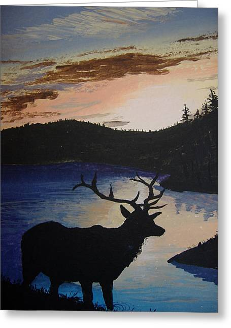 Greeting Card featuring the painting Elk At Sunset by Norm Starks