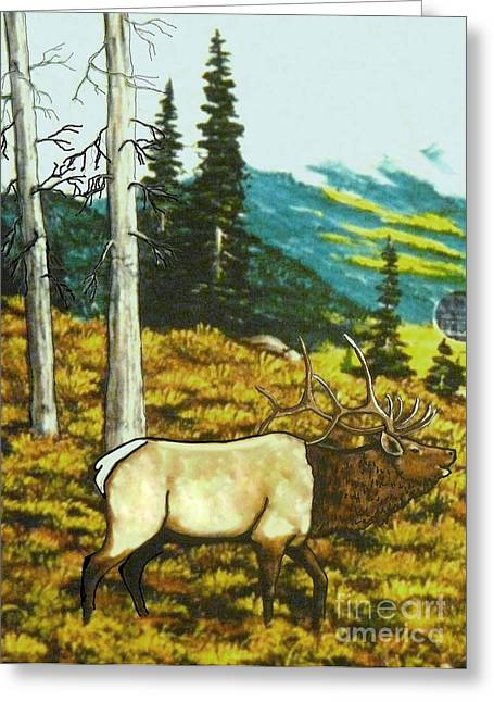 Elk In The Mountains Greeting Card by Bobbylee Farrier
