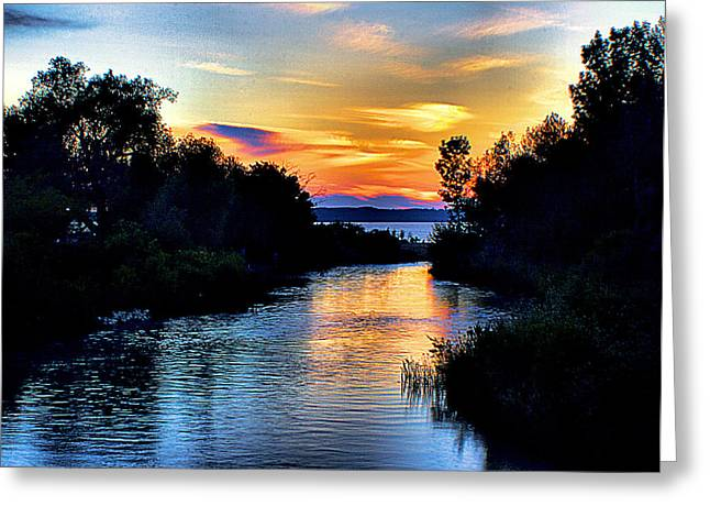 Elk Rapids Sunset Greeting Card by Matthew Winn