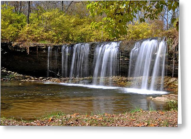 Elkhorn Falls Wayne County Indiana Greeting Card by Marsha Williamson Mohr