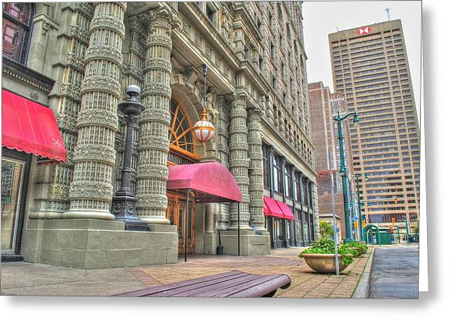 Greeting Card featuring the photograph Ellicott Square Building And Hsbc by Michael Frank Jr