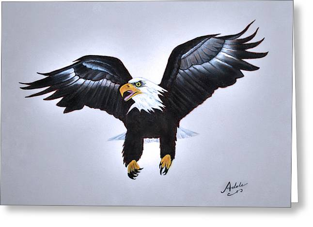 Elliott The Eagle Greeting Card by Adele Moscaritolo