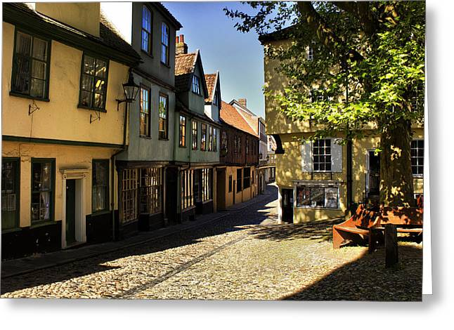 Elm Hill Norwich Greeting Card by Darren Burroughs