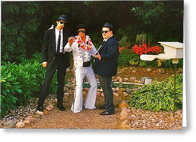 Elvis And The Blues Greeting Card by Randy Rosenberger