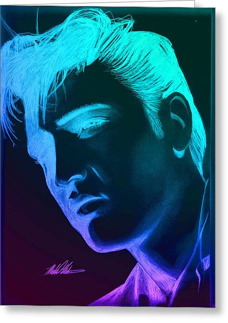 Elvis Neon Greeting Card by Michael Mestas