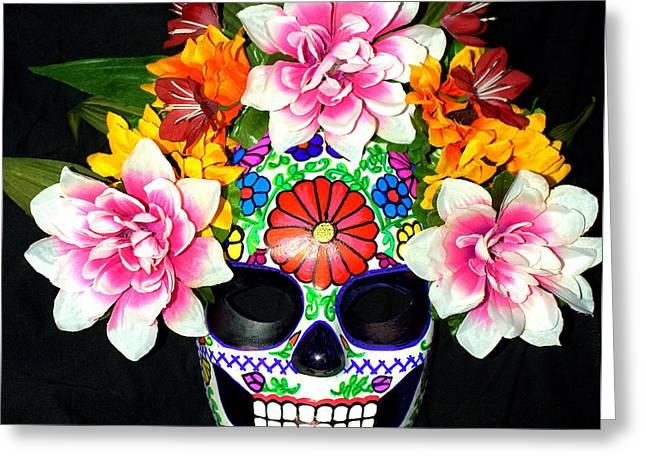 Embroidery Sugar Skull Mask Greeting Card by Mitza Hurst