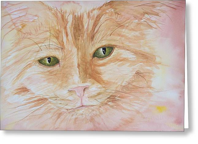 Emerald Eyes Greeting Card by Barbara McGeachen