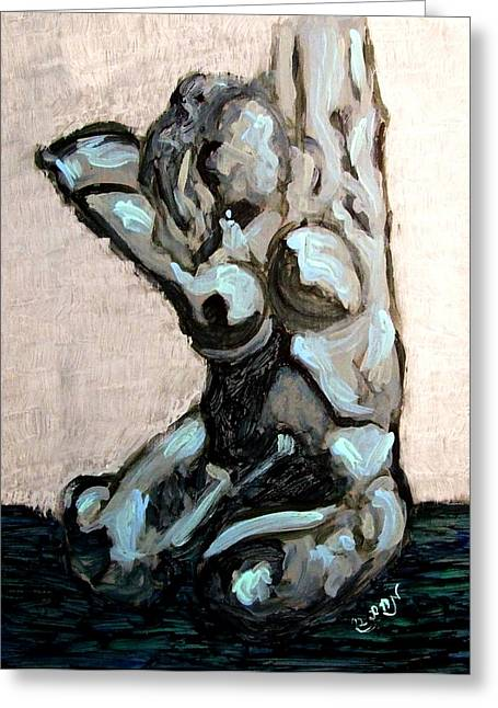Emerald Green And Blue Expressionist Nude Female Figure Painting Filled With Emotion And Movement Greeting Card
