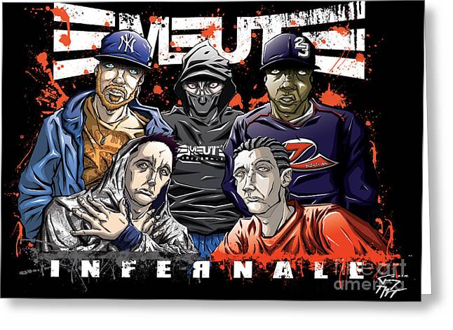 Emeute Infernale - Black Version Greeting Card by Tuan HollaBack