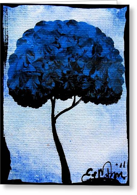 Greeting Card featuring the painting Emily's Trees Blue by Oddball Art Co by Lizzy Love