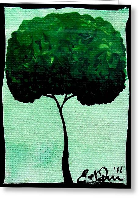 Greeting Card featuring the painting Emily's Trees Green by Oddball Art Co by Lizzy Love
