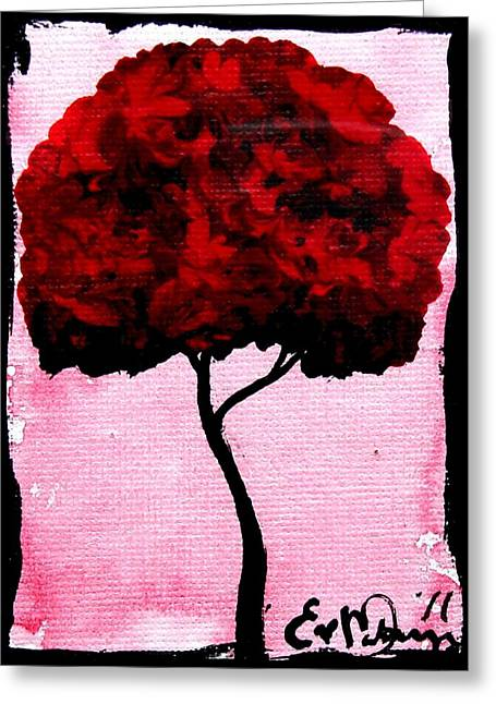 Emily's Trees Red Greeting Card by Lizzy Love of Oddball Art Co