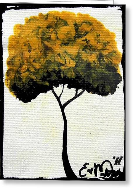 Greeting Card featuring the painting Emily's Trees Yellow by Oddball Art Co by Lizzy Love
