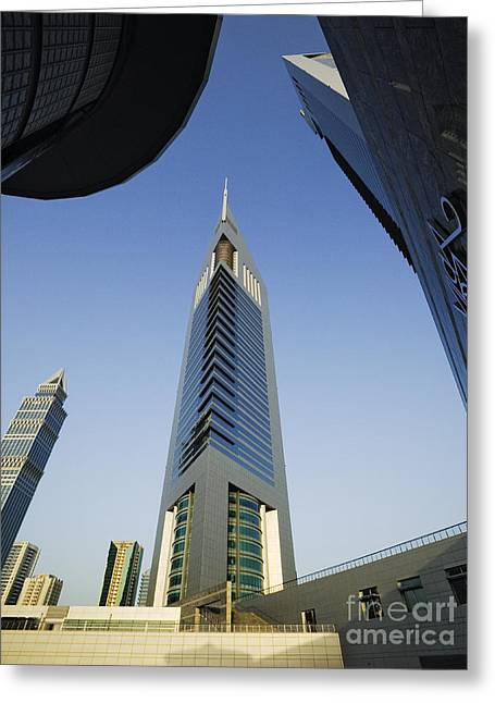 Emirates Tower At Sunrise Greeting Card by Jeremy Woodhouse