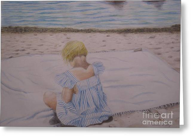 Emma On The Beach Greeting Card by Heather Perez