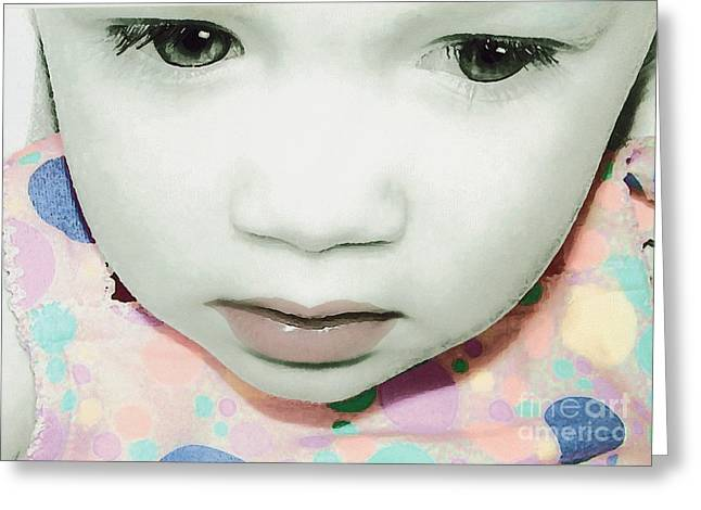 Emo Pop Baby Greeting Card by Laura Brightwood