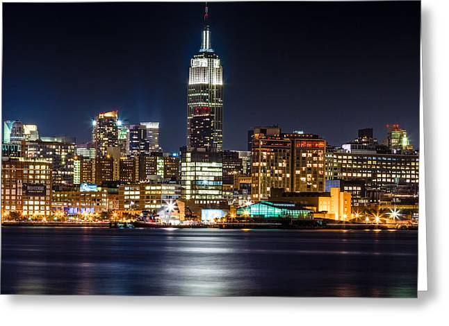 Empire State Building From Hoboken Greeting Card by Val Black Russian Tourchin