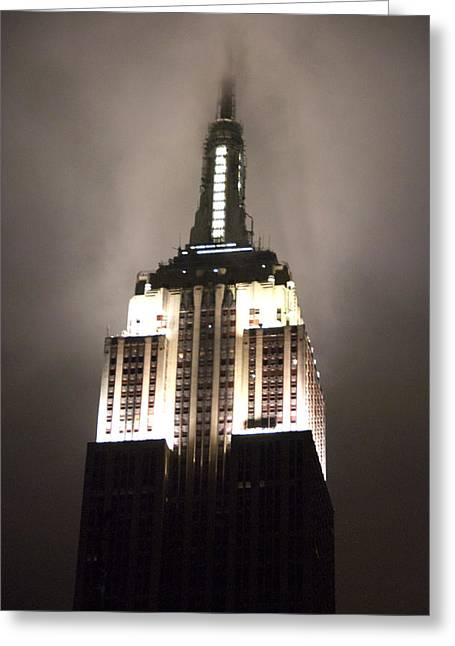 Empire State In The Fog Greeting Card by Kelsey Horne