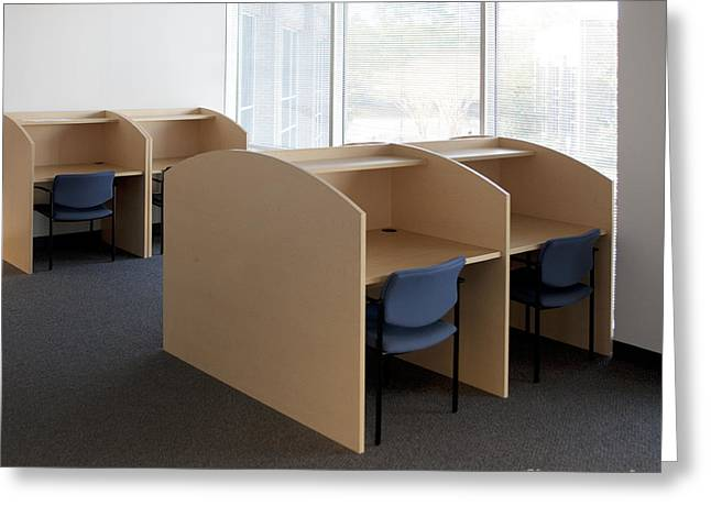 Empty Carrels Greeting Card by Will & Deni McIntyre