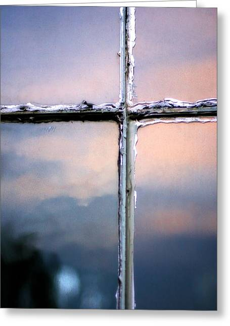 Empty Cross On The Window Of An Old Church Greeting Card