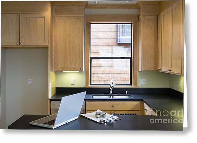Empty Kitchen With Laptop Greeting Card by Andersen Ross
