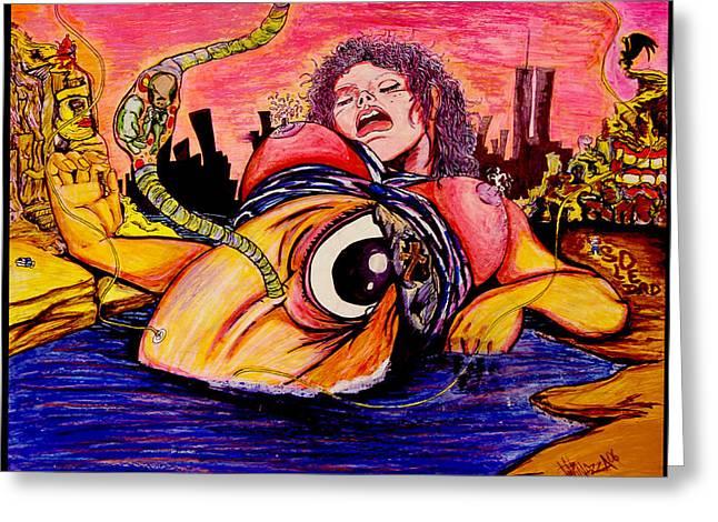 Greeting Card featuring the painting En El Bano De Soledad by eVol  i