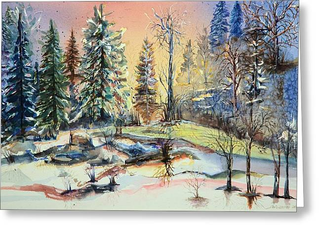 Enchanted Forest At Sunset Greeting Card