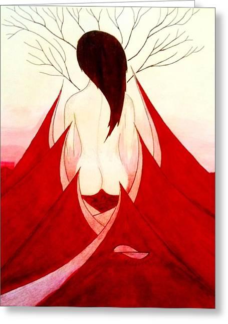 Enchantress Red Greeting Card by Fariz Kovalchuk