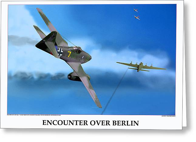 Encounter Over Berlin Greeting Card by Jerry Taliaferro