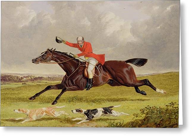 Encouraging Hounds Greeting Card by John Frederick Herring Snr