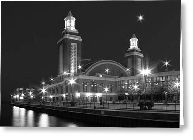 End Of Navy Pier In Black And White Greeting Card by Twenty Two North Photography