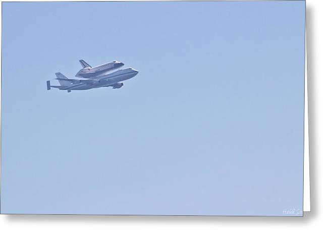 Endeavour Flyover Greeting Card by Heidi Smith