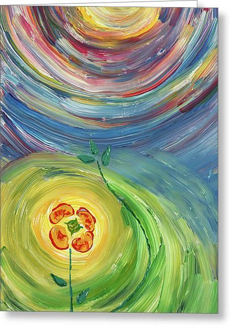 Energy Flower Greeting Card by Erik Tanghe